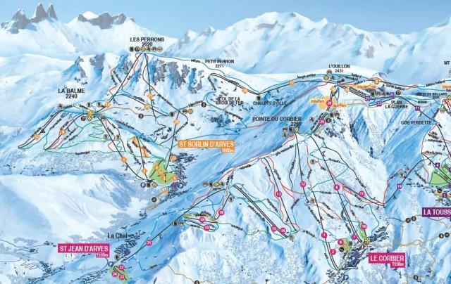 Skigebied Les Sybelles plattegrond