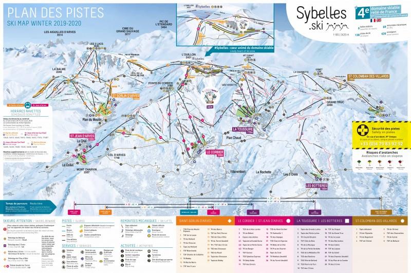 Plan des Pistes 2019-2020 Les Sybelles